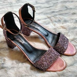 Free People Marigold Glitter Block Heels